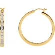 14kt Yellow PAIR 1 CT TW Polished DIAMOND HOOP EARRING