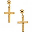 14kt Yellow PAIR 13.00X10.00 MM Polished CROSS BALL DANGLE EARRING