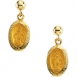 14kt Yellow PAIR 12.00X09.00 MM Polished MIRACULOUS BALL DANGLE EARRING