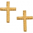 14kt Yellow PAIR 13.00X09.00 MM Polished CROSS EARRING