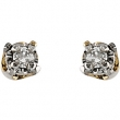 14kt Yellow PAIR Polished YOUTH DIAMOND EARRING