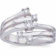 14kt White 1/4CTTW Polished RIGHT HAND DIAMOND RING
