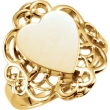 14kt Yellow RING Polished HEART SIGNET W/FILIGREE DESIGN