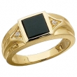14KY .04 CT TW 08.00 MM P GEN ONYX AND DIAMOND RING