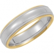 14kt White/Yellow SIZE 13.00 Polished TWO TONE COMFORT FIT BAND
