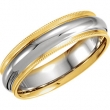 14kt White/Yellow SIZE 09.00 Polished TT COMFORT FIT MILGRAIN BAND