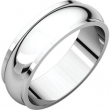 10kt White 06.00 mm Half Round Edge Band
