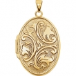 14kt Yellow 26.00X19.00 MM Polished OVAL MEDIUM EMBOSSED LOCKET