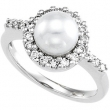 14KW 07.50 MM 1/3 CT TW P CULTURED PEARL & DIAMOND RING