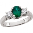 Platinum Ring Complete with Stone 07.00 NONE Oval 07.00X05.00 MM NONE Polished EMERALD AND 3/8CTW DIA RING