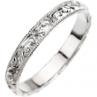 14kt White 6 Hand Engraved Band