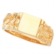 14kt Yellow 09.00 MM Polished GENTS SIGNET RING W/BRUSH FINI