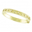 Antique Style Diamond Bangle Bracelet, 14K Yellow Gold