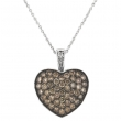 Champagne diamond large heart necklace