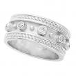 Antique Style Bezel Set Diamond Ring, 14K White Gold