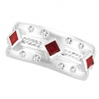 Antique Style Ruby & Diamond Fashion Ring, 14K White Gold