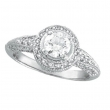 Antique Style Diamond Engagement Ring White Gold