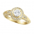 Antique Style Diamond Engagement Ring  Yellow Gold