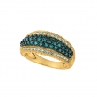 Blue & white diamond pave ring