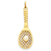 14k Tennis Racquet with Cultured Pearl Charm