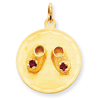 14k Medium Solid Engraveable Baby Shoes on Disc Charm