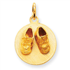 14k Small Solid Engraveable Baby Shoes on Disc Charm