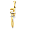 14k & Rhodium 3-D Wrench Charm