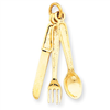 14k Knife, Fork & Spoon Charm