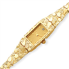 14K Ladies Rectangular Champagne Dial Solid Nugget Watch bracelet