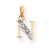 14k & Rhodium Polished .01ct Diamond Initial N Charm