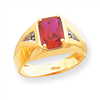 10k Created Ruby & .02ct Diamond Men