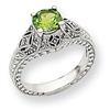 10k White Gold Diamond and Peridot Ring