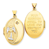 14k Guardian Angel with Diamond 26mm Oval Locket