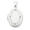 14K White Gold 21mm Oval Rhodium Diamond with Texture Locket