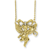 Gold-tone Angel with Crystal Bow 16in w/ext Necklace