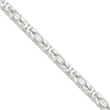 Sterling Silver 7.5mm Square Byzantine Chain