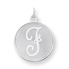 Sterling Silver Brocaded Initial F Charm