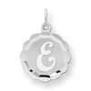 Sterling Silver Brocaded Initial E