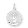 Sterling Silver Brocaded Initial G Charm