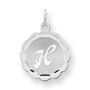 Sterling Silver Brocaded Initial H Charm