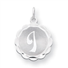 Sterling Silver Brocaded Initial I Charm