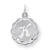 Sterling Silver Brocaded Initial K Charm