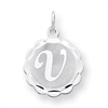 Sterling Silver Brocaded Initial V Charm