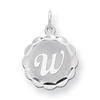 Sterling Silver Brocaded Initial W Charm