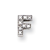Sterling Silver CZ Initial F Slide