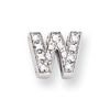 Sterling Silver CZ Initial W Slide