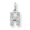 Sterling Silver CZ Initial H Charm