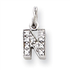 Sterling Silver CZ Initial N Charm