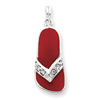 Sterling Silver Red Enameled CZ Flip Flop Charm