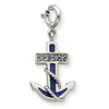 Sterling Silver Blue Enameled Anchor w/Crystals Charm
